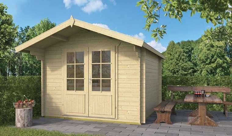 בקתת גן 3.00*3.00+ גגון Perlund מחסן עץ או בקתת עץ לגינה