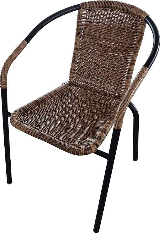 זוג כסאות ראטן משולב ברזל בחום או בשחור