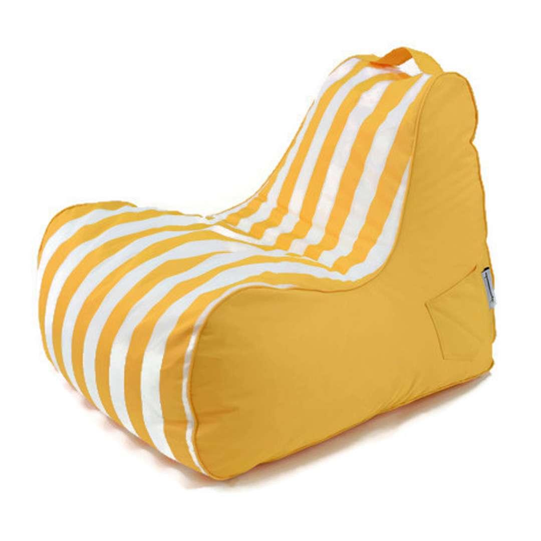 פוף כורסה HAPPY צהוב-לבן