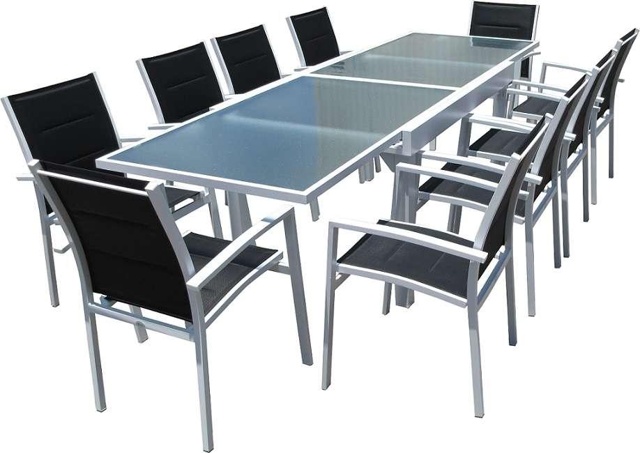סט שולחן אוכל נפתח וכסאות מאלומיניום לבן
