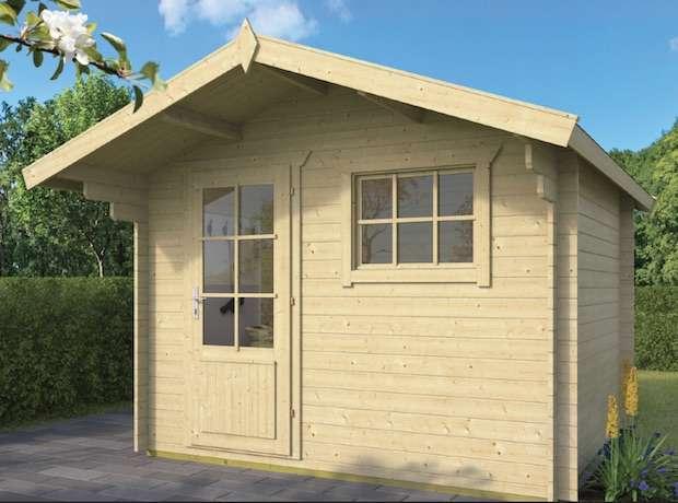 בקתת הסטודיו 2.6*3 + גגון Bjorn מחסן עץ או בקתת עץ לגינה