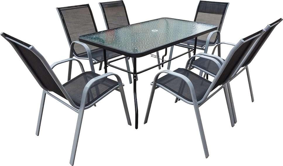 פינת אוכל קלילה לגינה שולחן ושישה כסאות כהה