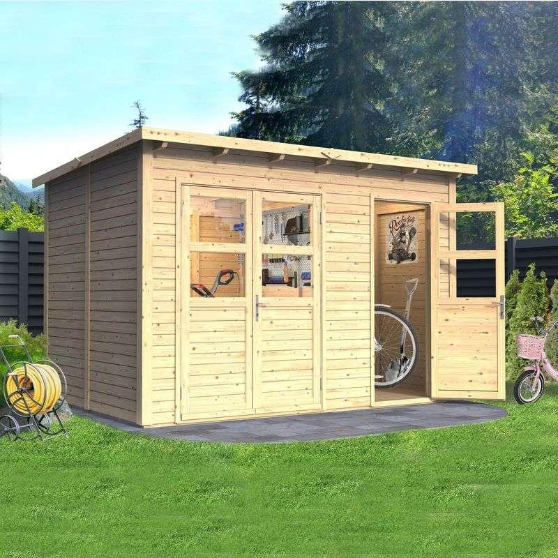 מחסן עץ לגינה שני חדרים 2.60*3.60 GX118H גג חד-שיפועי