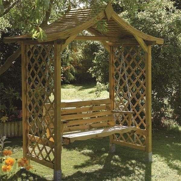 ספסל נדנדה כולל גזיבו מעץ מלא וראנסי