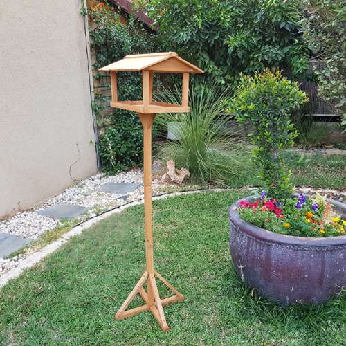 שולחן האכלה לציפורים מיני בית עץ